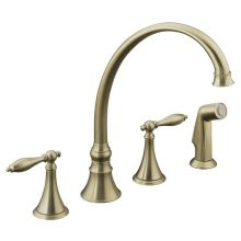 Double Handle Kitchen Faucet with Metal Traditional Lever Handles and Sidespray from the Finial Series