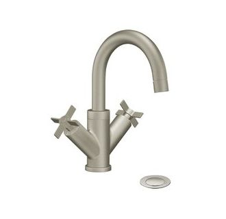 Cas4711bn in brushed nickel by moen - Single hole cross handle bathroom faucet ...