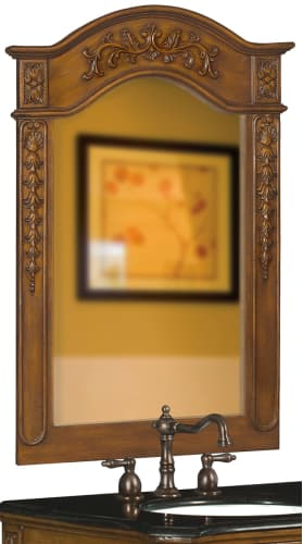 Belle Foret BF80036 Medium Oak Traditional / Classic 36-Inch Vanity Mirror in Medium Oak with Carved Accents 80036