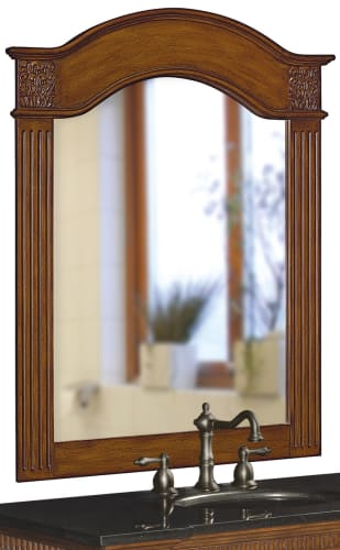 Belle Foret BF80041 Vintage Oak Traditional / Classic 40-Inch Portrait Vanity Mirror in Vintage Oak with Carved Accents 80041