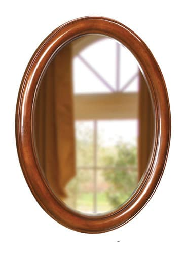Belle Foret BF80021 Dark Cherry Traditional / Classic 33-Inch Oval Framed Vanity Mirror in Dark Cherry BF80021