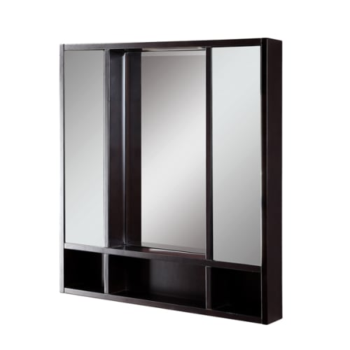 "DecoLav 9713-ESP Espresso Tyson Tyson 30"" Double Door Framed Medicine Cabinet with Open Cubby Storage 9713"