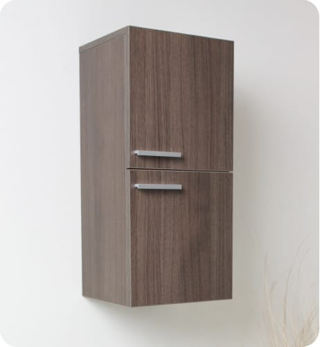 "Fresca FST8091GO Gray Oak 27"" Wall Mounted Bathroom Linen Cabinet with Two Storage Areas FST8091"
