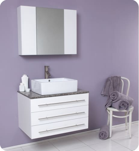 "Fresca FVN6183WH-GR White with Granite Countertop Modello Modello 32"" Wall Mounted Wood Vanity With Marble or Granite Top, Mirrored Medicine Cabinet, P-Trap, Fa"