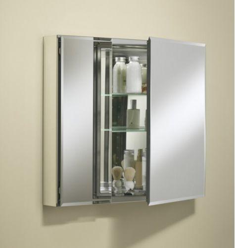 """Kohler K-CB-CLC3026FS Silver Aluminum 30"""" x 26"""" Double Door Reversible Hinge Frameless Mirrored Medicine Cabinet K-CB-CLC3026FS"""