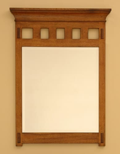 Sagehill Designs AC3040MR Rustic Oak American Craftsman 30 Framed Mirror with Crown Molding from the American Craftsman Collection AC3040MR