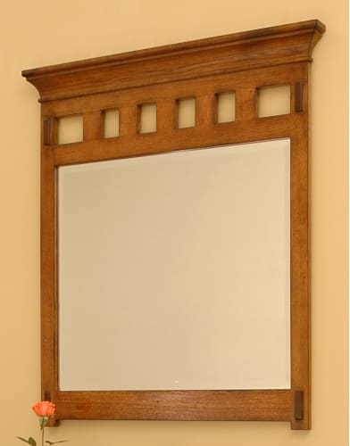 Sagehill Designs AC3640MR Rustic Oak American Craftsman 36 Framed Mirror with Crown Molding from the American Craftsman Collection AC3640MR