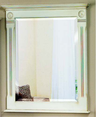 Sagehill Designs VQ3640MR Glazed White Victorian 36 Solid Wood Framed Mirror with Beveled Glass from the Victorian Collection VQ3640MR