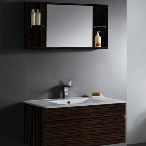 "Vigo VG09008109K Ebony Vanities Vigo 35-3/4"" Single Basin Bathroom Complete Vanity Set With Medicine Cabinet In Ebony Finish VG09008109K"