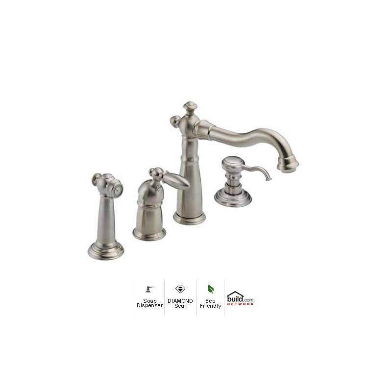 kitchen faucet with side spray and soap lotion dispenser includes