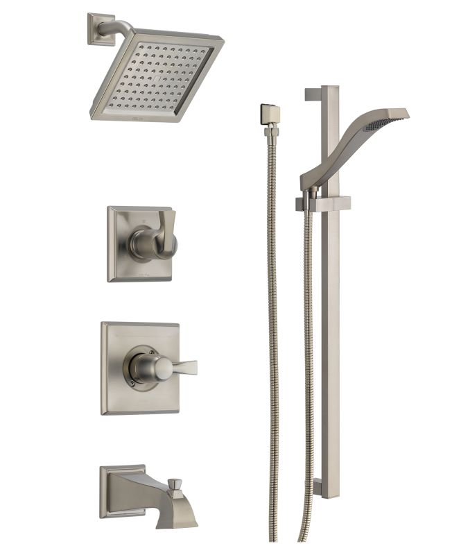 Dss dryden 1404ss in brilliance stainless by delta for Delta bathroom shower systems