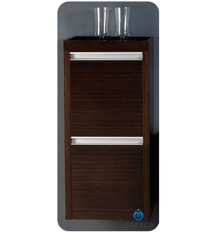 wenge brown 33 wall mounted bathroom linen cabinet with two doors