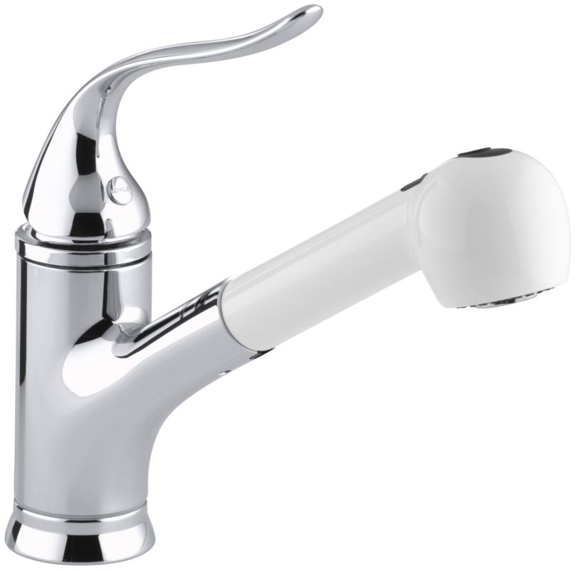 chrome single handle pullout kitchen faucet from the coralais series
