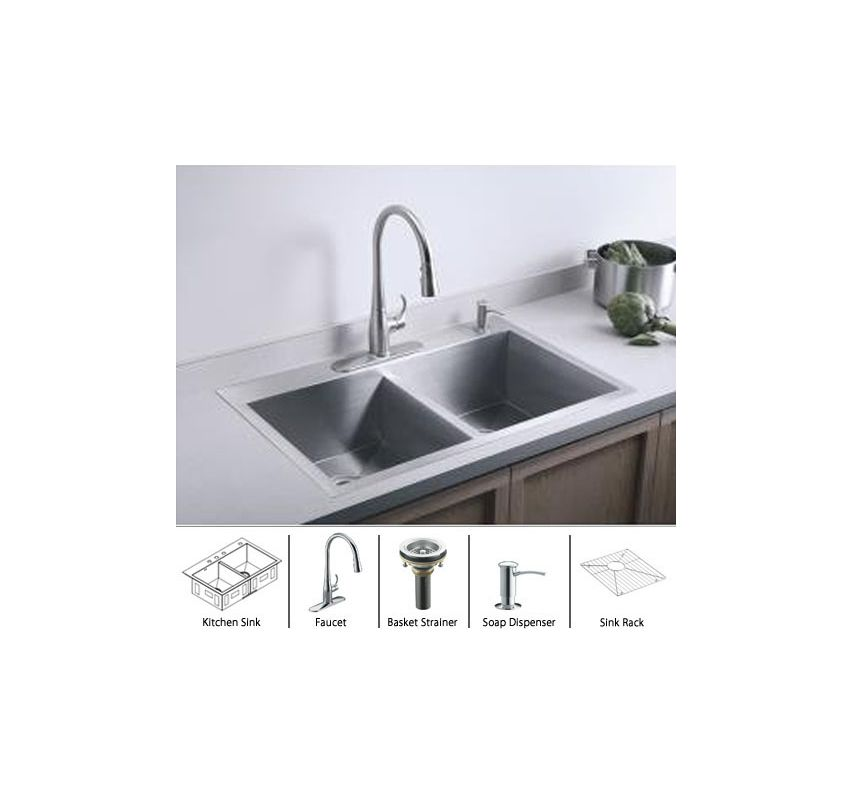 Vault k 3820 3 package cp in stainless sink polished chrome basket strainer by kohler - Kitchen sink package ...