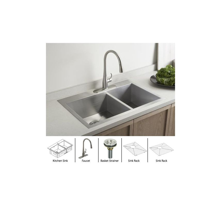 Vault k 3823 1 package vs in stainless sink stainless basket strainer by kohler - Kitchen sink package ...