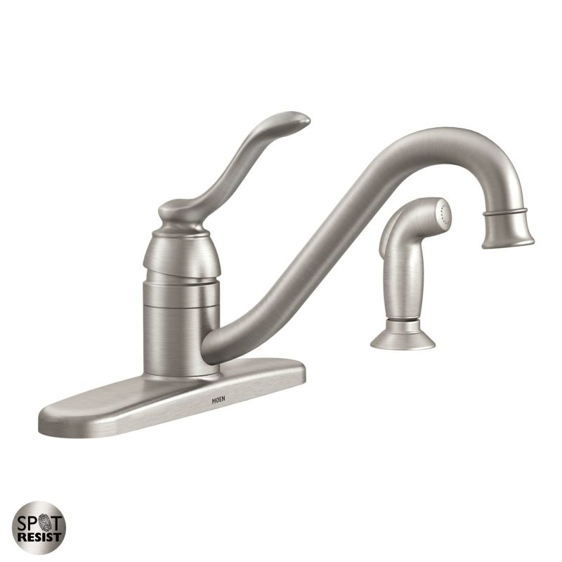 Faucet : Moen 87690SRS Spot Resist Stainless Kitchen Faucet with Side Spray ...