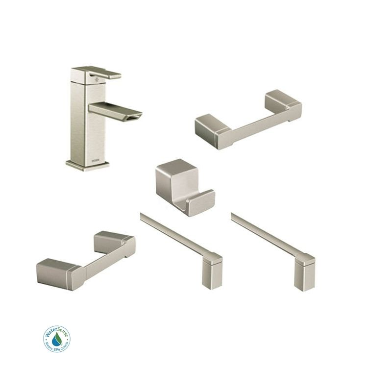 90 Degree Faucet And Accessory Bundle 3bn In Brushed Nickel By Moen