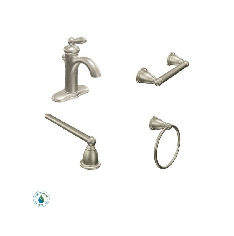 Brantford Faucet And Accessory Bundle 2bn In Brushed Nickel By Moen