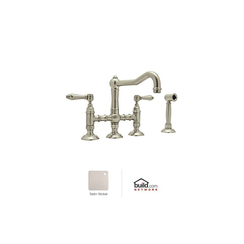 Rohl Bathroom Faucets : Rohl A1458LMWSSTN-2 Satin Nickel Country Kitchen Faucet - Includes ...
