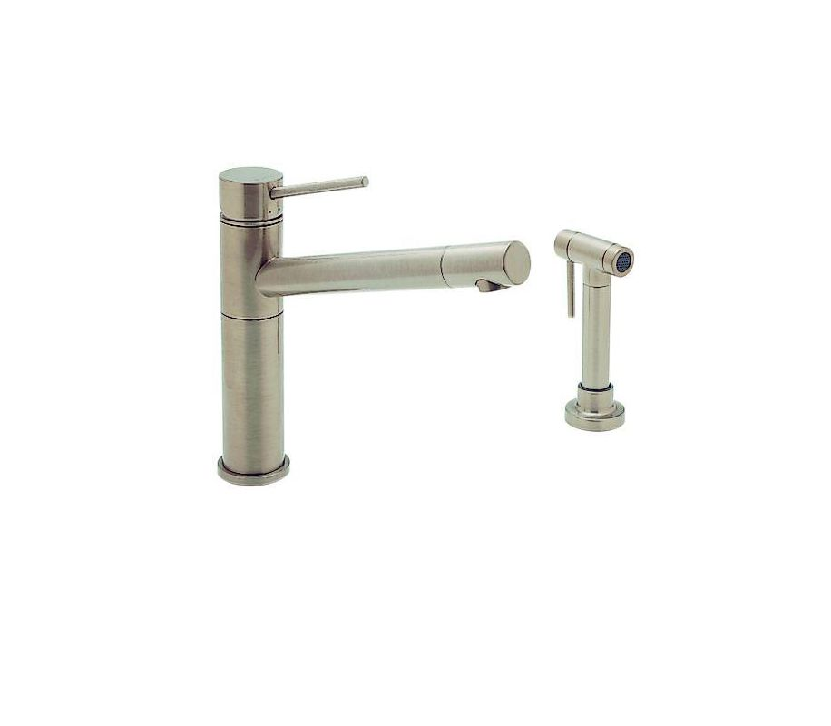 Blanco Faucets : Blanco 440665 Satin Nickel Single Handle Kitchen Faucet with Side ...