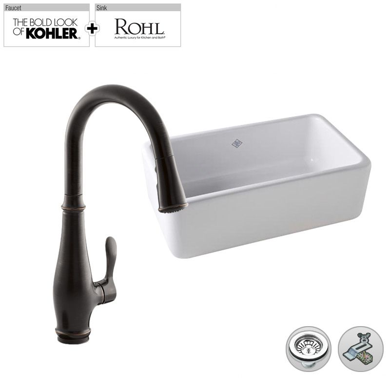 Rohl Farmhouse Sink : ... Rohl Single-Bowl Fireclay Farmhouse Sink with Kohler Cruette Pullout