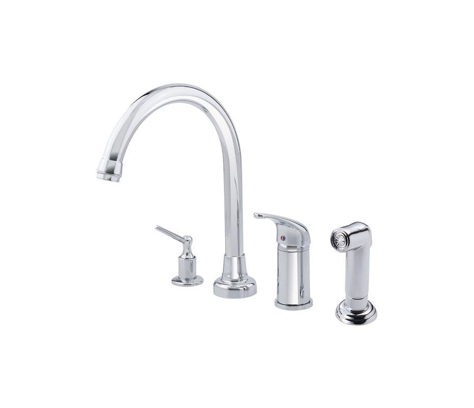 d409012 chrome kitchen faucet includes side spray and soap dispenser