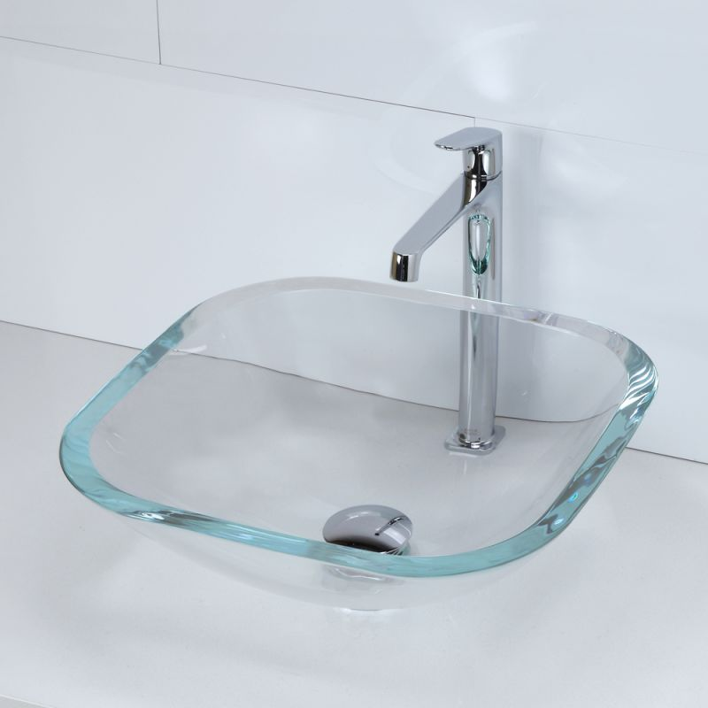Decolav Sinks : DecoLav 1139T-FCR Frosted Crystal Translucence 16-1/2