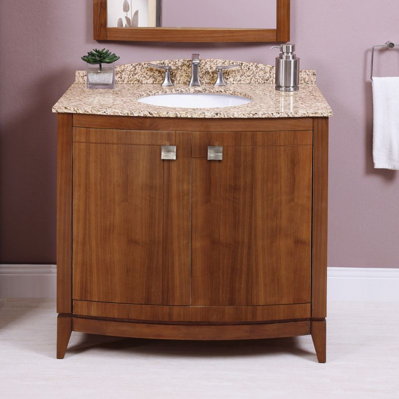 walnut gavin 36 wood vanity cabinet only with curved front doors