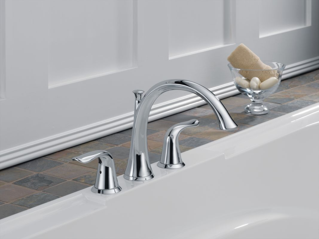 delta t2738 ss brilliance stainless lahara roman tub faucet trim