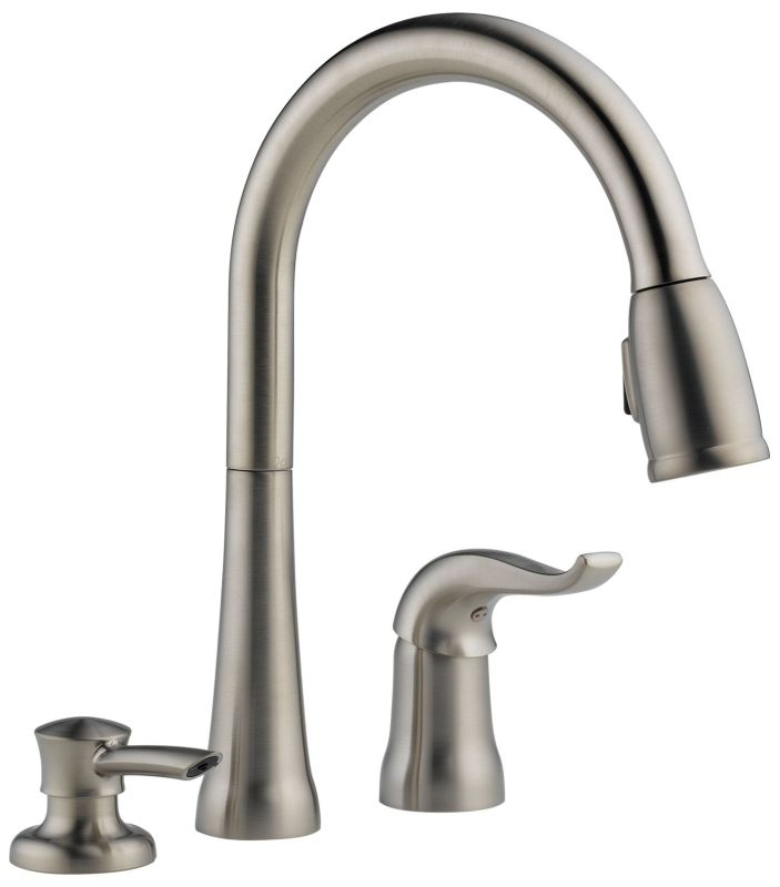 faucet com 16970 sd dst in chrome by delta delta kate series pull down kitchen faucet with soap or