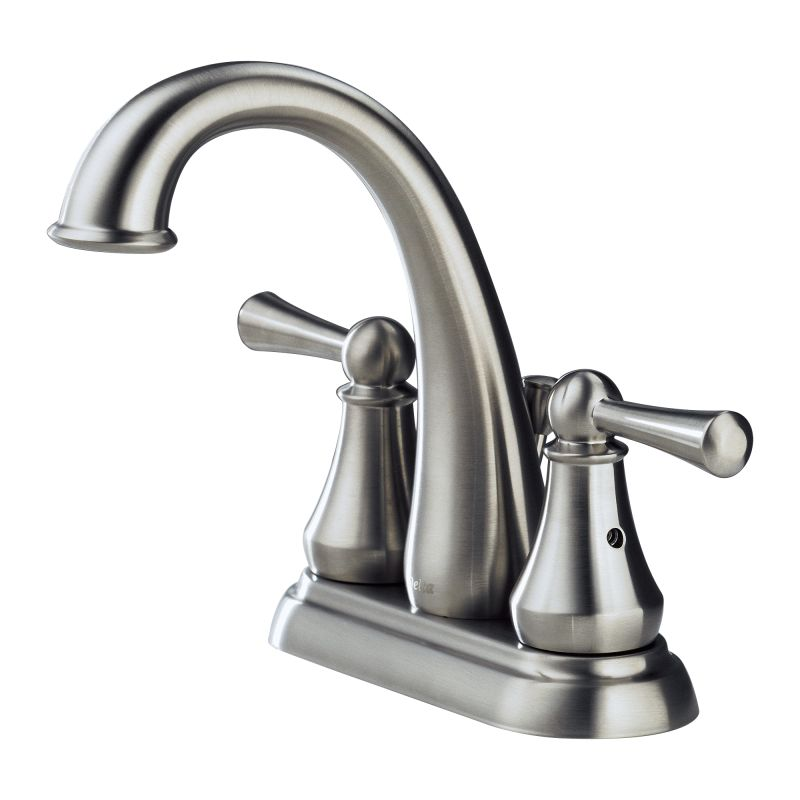 stainless lewiston centerset bathroom faucet includes pop up drain