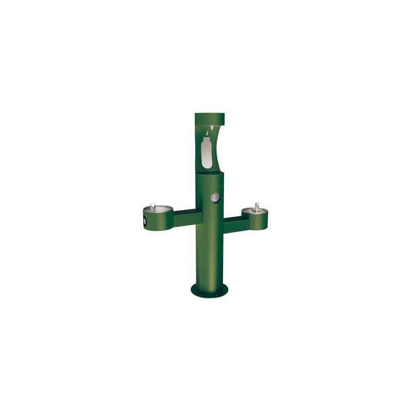green outdoor bottle filler fountain with two drinking fountains