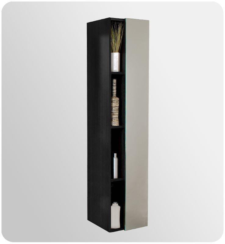 fresca fst8070bw black 67 freestanding bathroom linen cabinet with