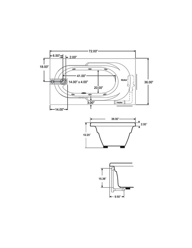 corner whirlpool tub dimensions. J2D7236BUXXXXW In White By Jacuzzi Drop Soaking Tub Sizes  Home Design Health support us