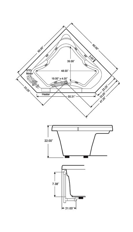 Corner Soaker Tub Dimensions J5D6060BCXXXXW In White By Jacuzzi