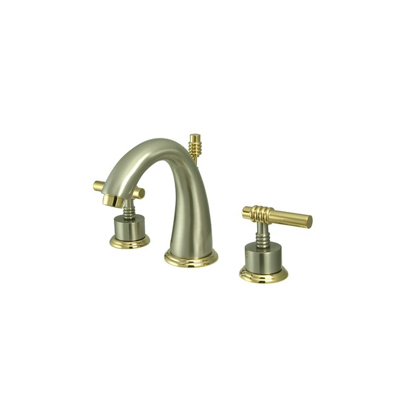 Satin Brass Bathroom Faucet : Satin Nickel / Polished Brass Milano Widespread Bathroom Faucet ...