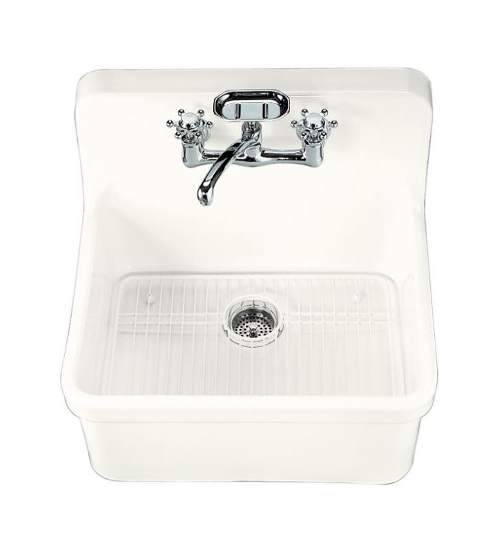 Top Mount Apron Sink White : White Gilford 24