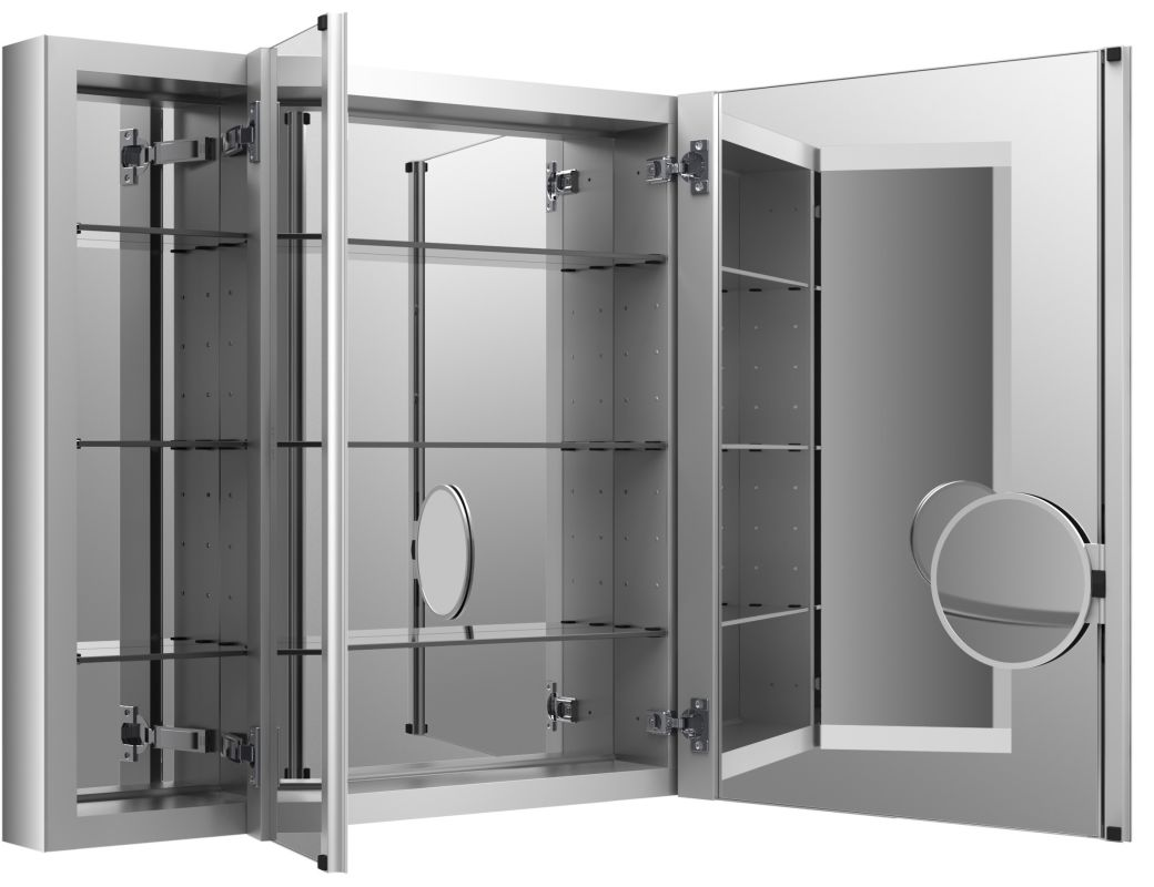 hinge frameless mirrored medicine cabinet from the verdera collection