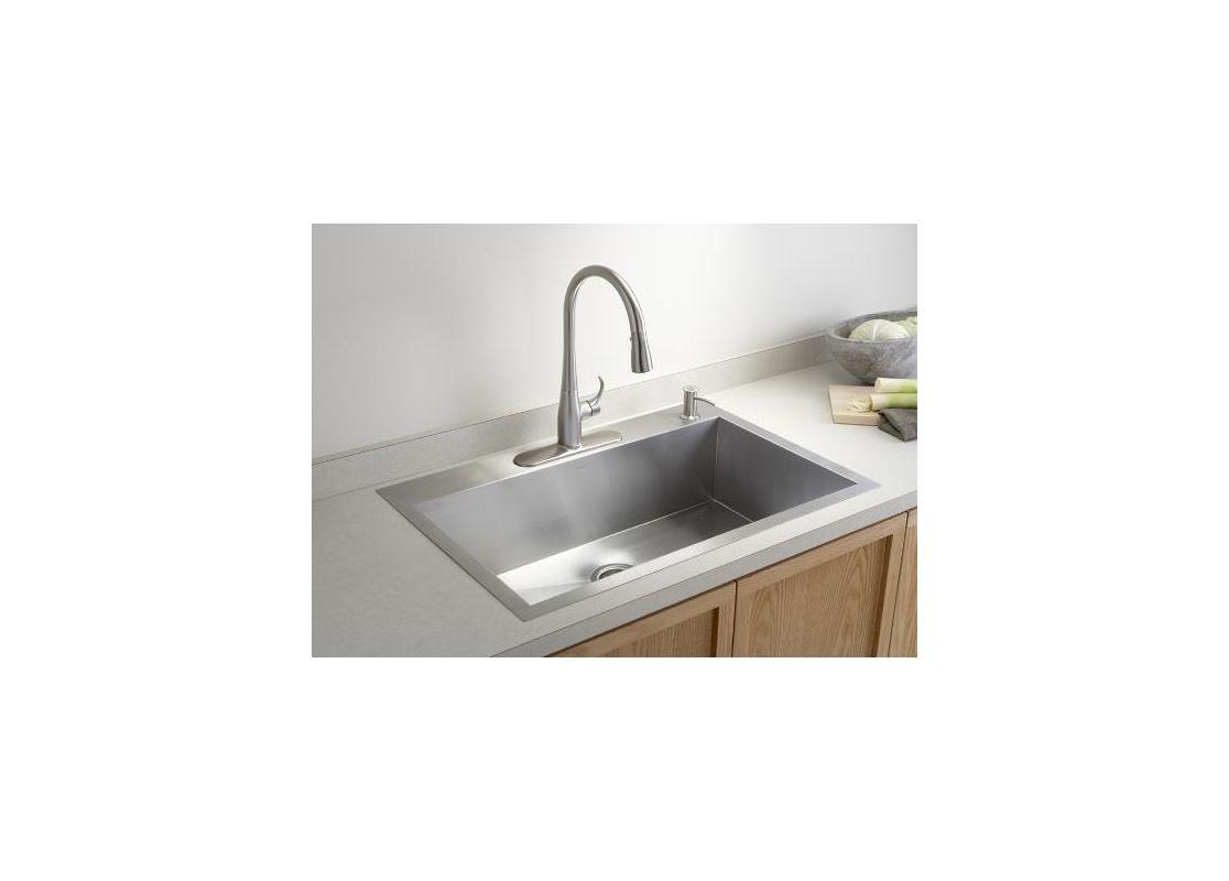 Kohler Stainless Steel Kitchen Faucets : Kohler K-3821-3-NA Stainless Steel Vault 33