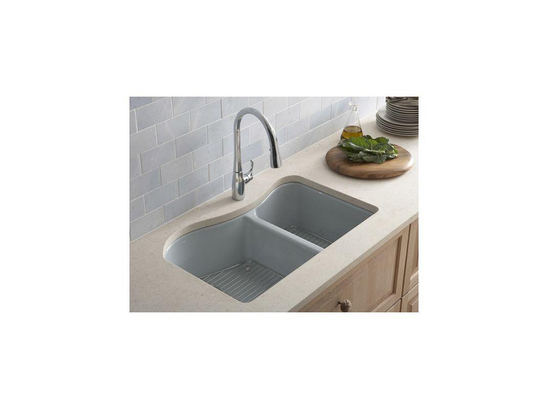 Kohler Lawnfield Sink : Kohler K-5841-4U-FF Sea Salt Lawnfield 33