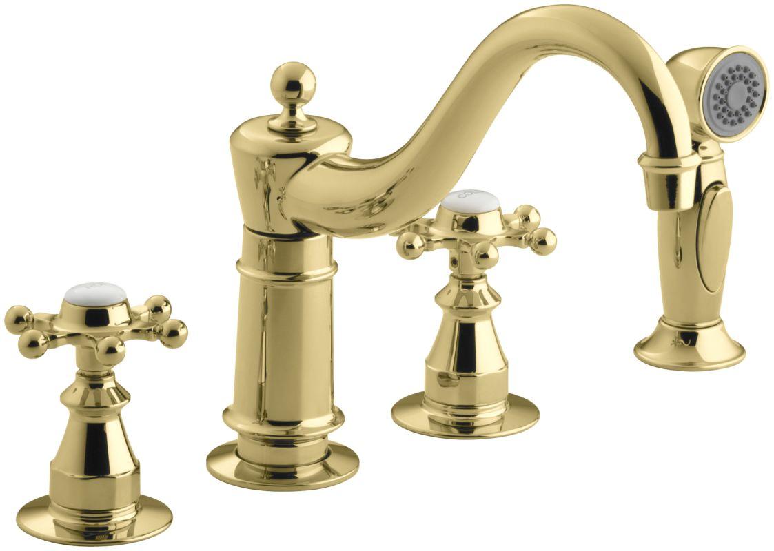 Kohler Brass Kitchen Faucet : Kohler K-158-3-PB Polished Brass Double Handle Kitchen Faucet with ...