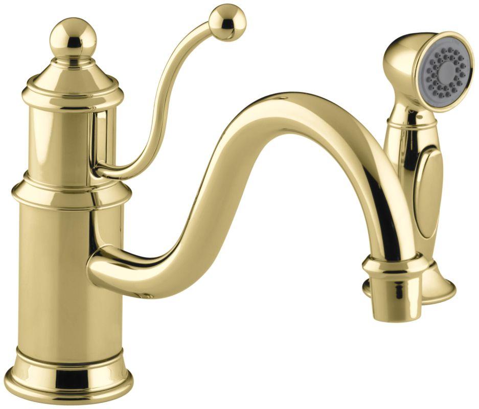 Kohler Brass Kitchen Faucet : Kohler K-169-PB Polished Brass Single Handle Kitchen Faucet with Side ...