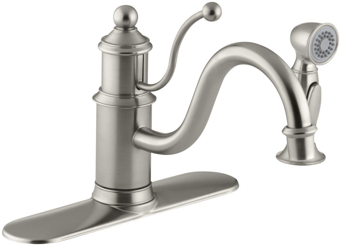Kohler Brushed Nickel Kitchen Faucet : Kohler K-171-BN Brushed Nickel Single Handle Kitchen Faucet with Side ...