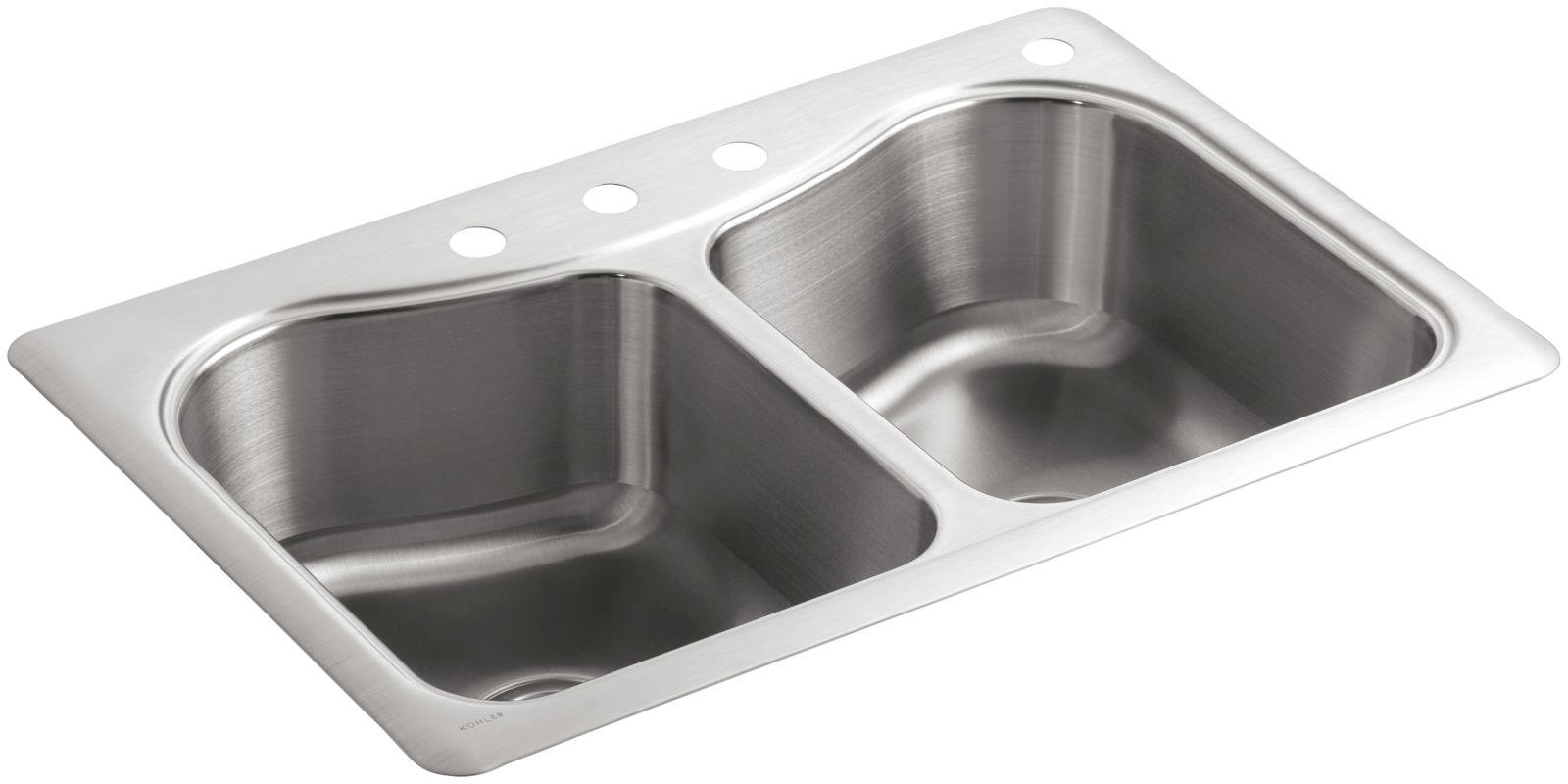 Kohler Stainless Steel Kitchen Faucets : Kohler K-3369-4-NA Stainless Steel Staccato 33