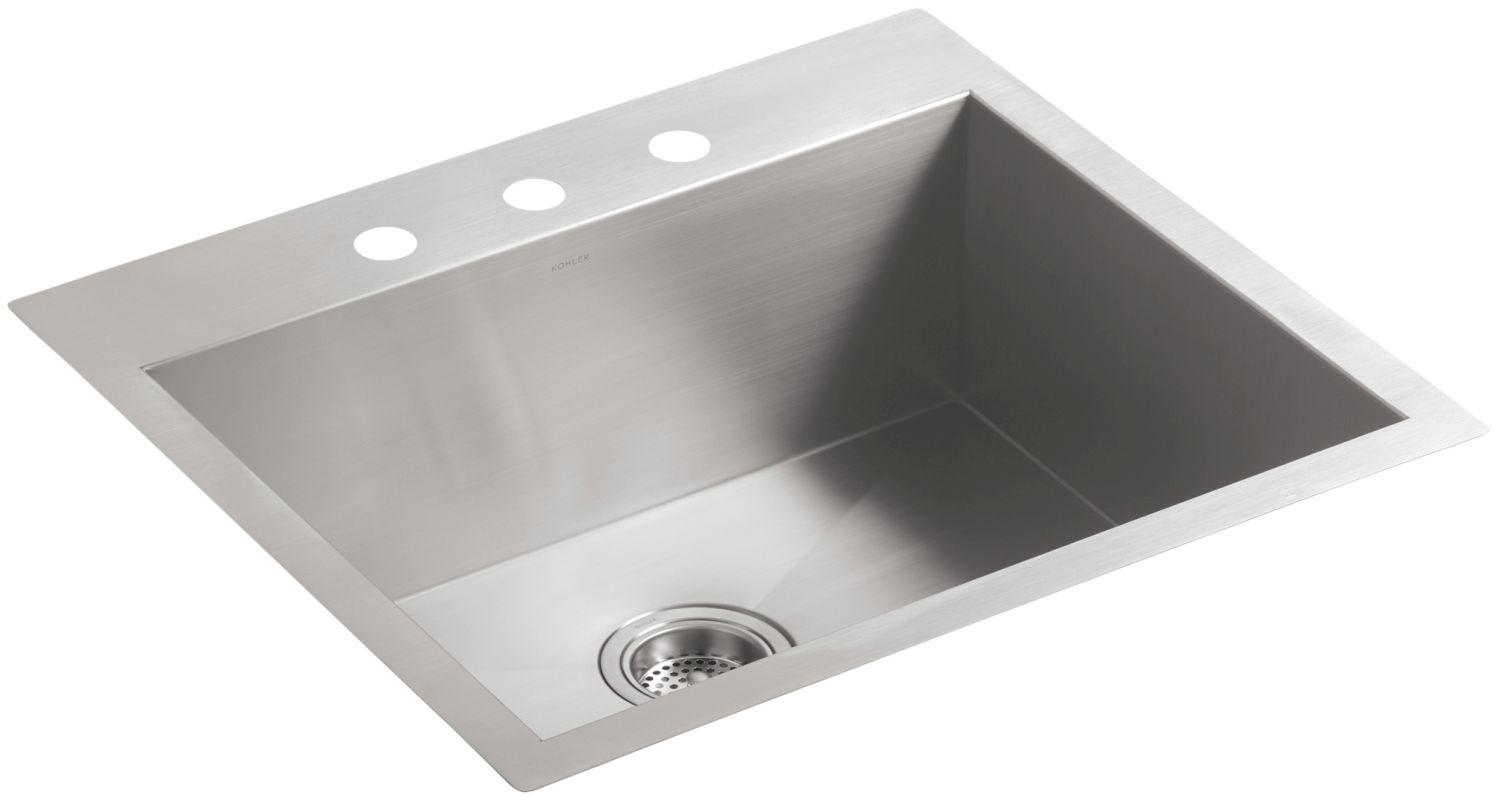 Kohler Stainless Steel Kitchen Faucets : Kohler K-3822-3-NA Stainless Steel Vault 25