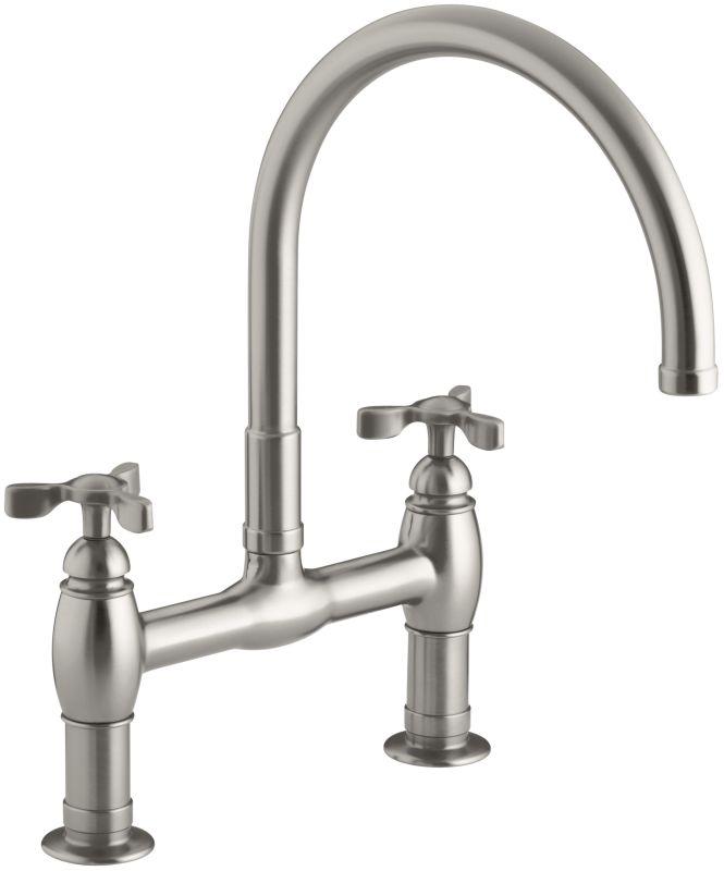 Kohler Stainless Steel Kitchen Faucets : Kohler K-6130-3-VS Stainless Steel Parq Deck-Mount Kitchen Bridge ...