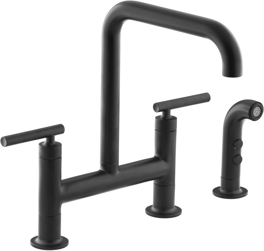 Black Kitchen Faucets : 7548-4-BL Matte Black Purist Double Handle Bridge Kitchen Faucet ...
