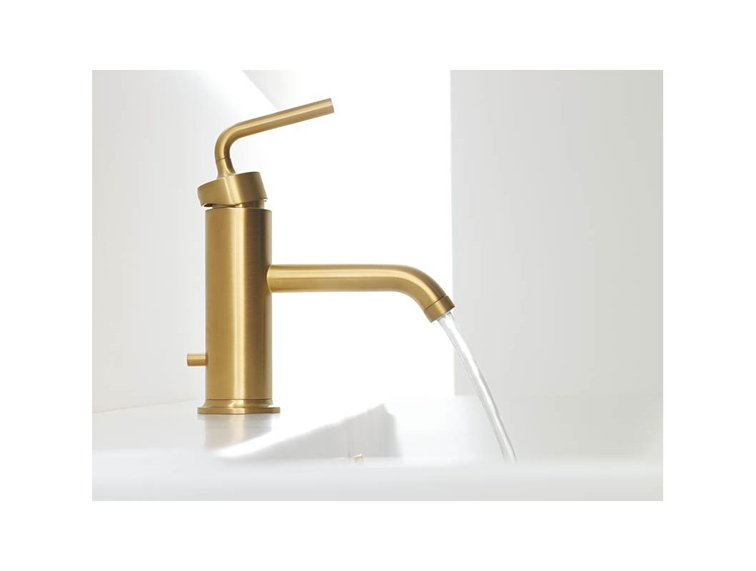 4A-BGD Vibrant Moderne Brushed Gold Purist Single Hole Bathroom Faucet ...