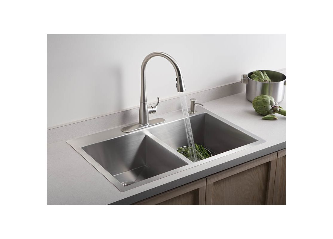 K 3820 4 na in stainless by kohler for Best faucet for kitchen sink