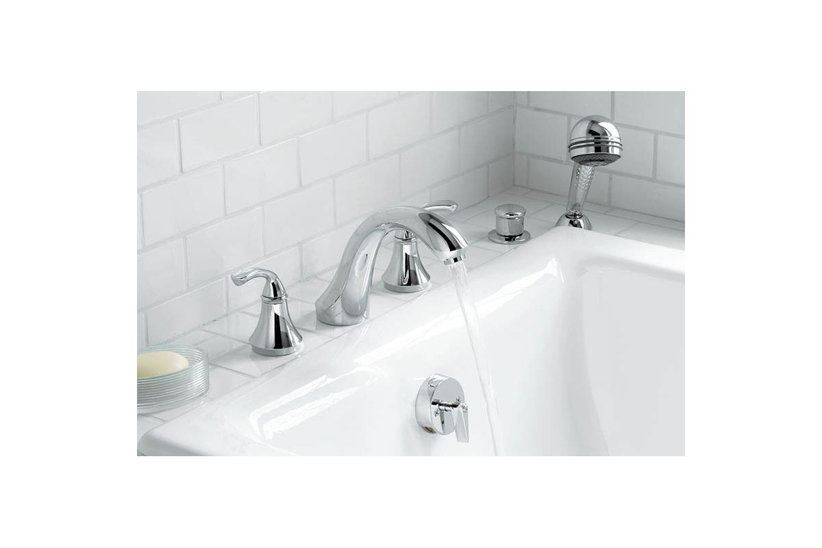Kohler K-T10278-4-G Brushed Chrome Double Handle Roman Tub Trim with ...
